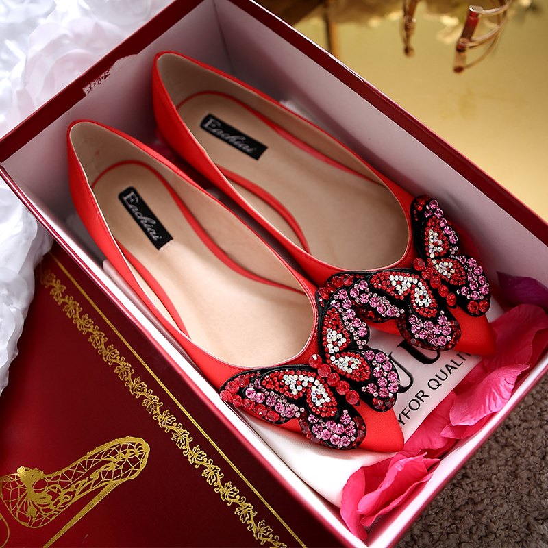 Red wedding shoes low heel rhinestone butterfly flat shoes in europe and america with flat shoes wedding shoes bridal shoes wedding shoes women shoes