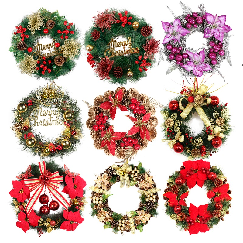 buy shi cai christmas decorations christmas wreath ornaments door wreath hanging christmas gift window bar scene layout in cheap price on malibabacom