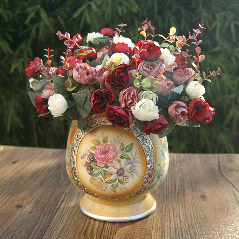 Buy single beam small bouquet of roses silk flower artificial buy single beam small bouquet of roses silk flower artificial flowers artificial flowers floral decoration flower floral living room placed flowers mightylinksfo