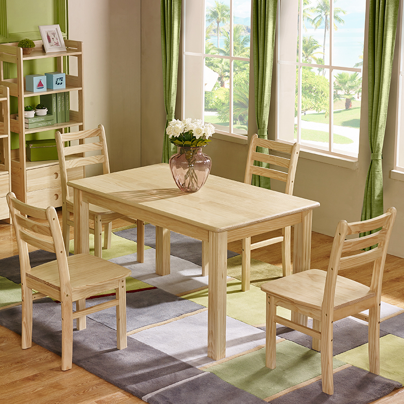 Six Pine Wood Square Dining Table And Chairs Combination