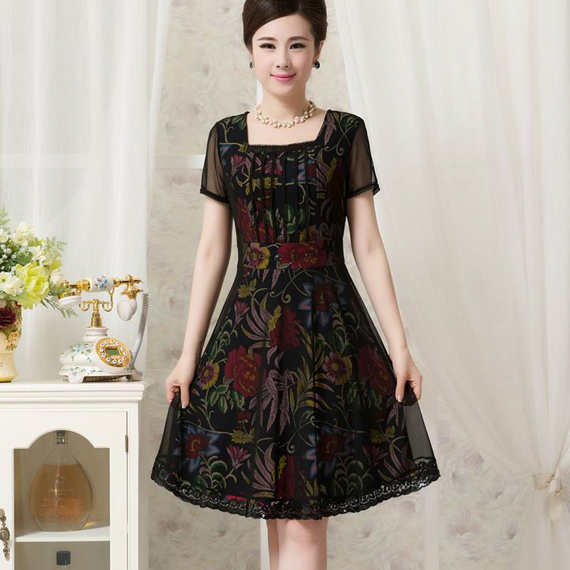 aafade347dad Spider monkey summer new middle-aged women in the elderly women s summer  even lace dress and long sections mother dress