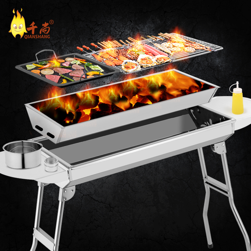 Thousands Of United States Still Large Thick Stainless Steel Barbecue Grill Home Outdoor Portable Charcoal Stove Box In Price