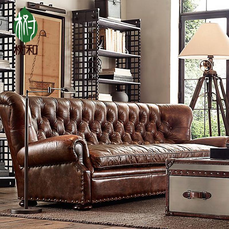 Buy American retro oil wax leather custom leather sofa ...