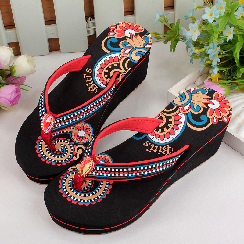 fecd430f3ad59 Buy Vietnam cents flat sandals and slippers female retro ethnic female  summer sandals slipper slope with thick crust slip female beach shoes in  Cheap Price ...