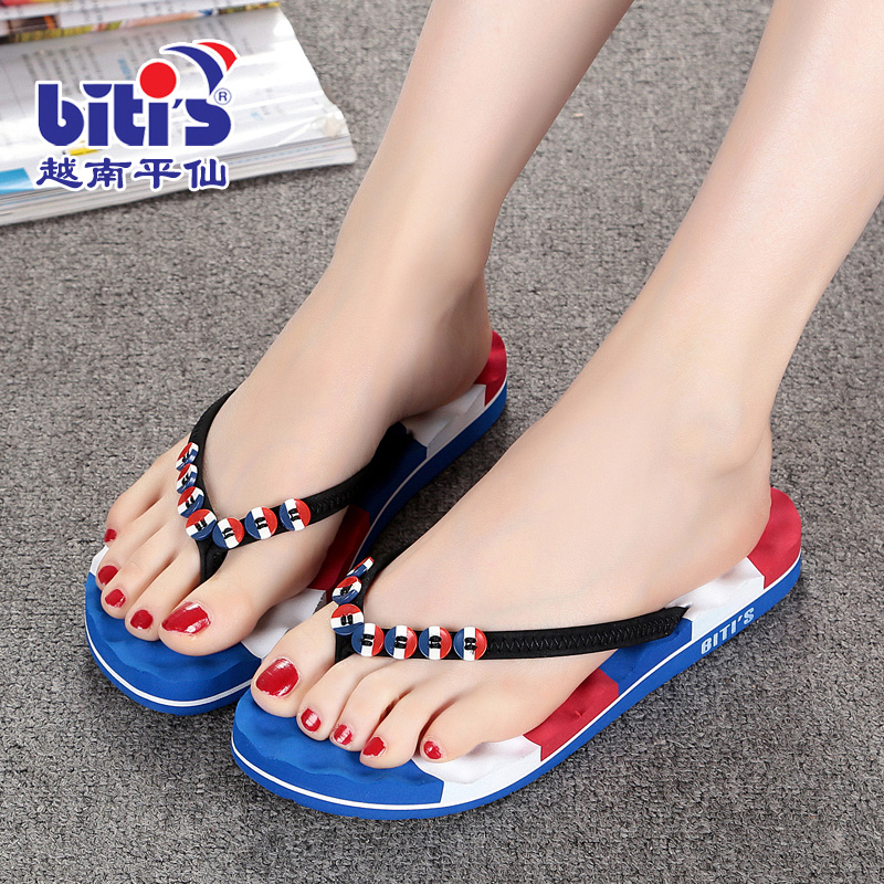 e7e6210a3405 Vietnam cents flat slippers women slippers summer casual flat sandals beach  flip-flops slip massage at the end of flat with female sandals and slippers