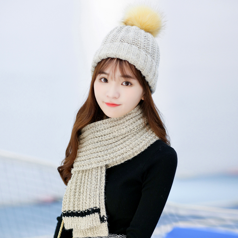Winter hat scarf piece female korean winter thick warm wool scarf knitted  scarf hat suit 5f75f440373