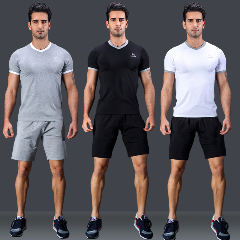 buy workout clothes suit men\u0026 39;s solid color tights wicking shortbuy workout clothes suit men\u0026 39;s solid color tights wicking short sleeve sweat jogging suits shipped move shorts workout clothes summer in cheap price on