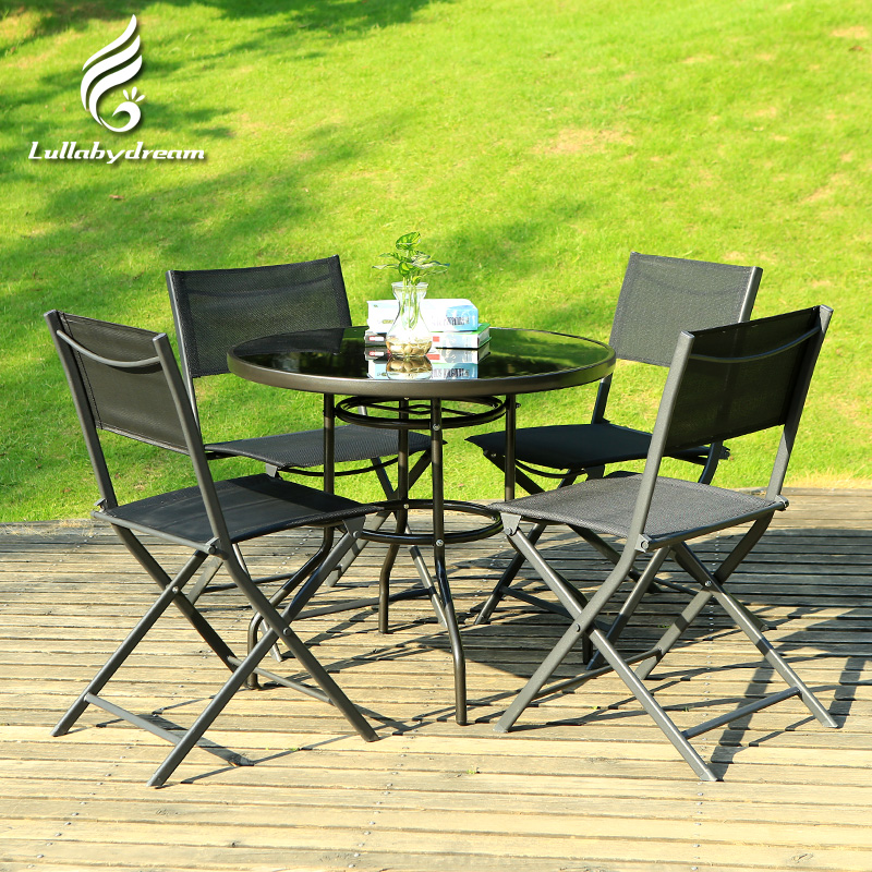 Wrought Iron Folding Teslin Outdoor Leisure Patio Umbrella Tables And Chairs Coffee Table Three Five Piece Suit In Price
