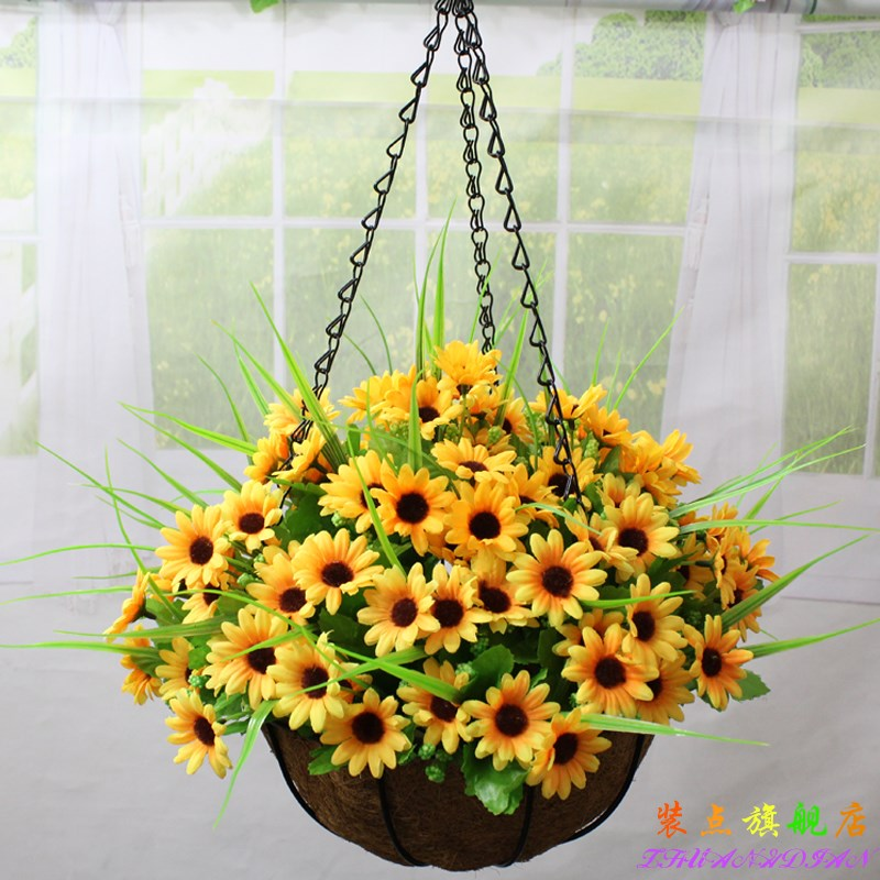 Wrought Iron Hanging Baskets Suit Artificial Flowers Silk Flower Fl Decoration Home Balcony Outdoor Promotional In
