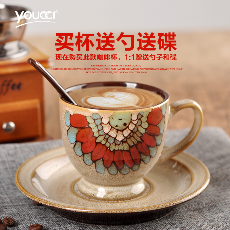 Youcci Leisurely Porcelain Euclidian 100 Auml Cedil Ordf Of Painted Ceramic Cup Small Coffee And Saucer Creative Suite Minimalist Sheath In