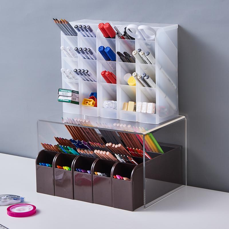 日本进口斜插式笔筒创意学生桌面文具收纳盒化妆品餐具抽