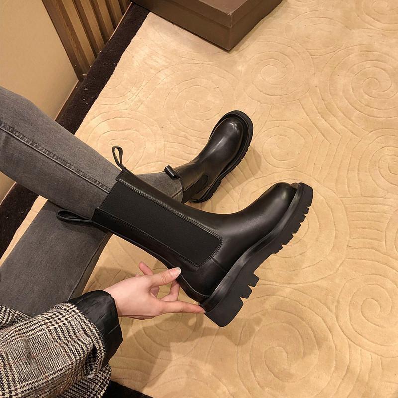 马丁靴女春秋单靴百搭2021年新款英伦风烟筒中筒瘦瘦短靴夏季薄款