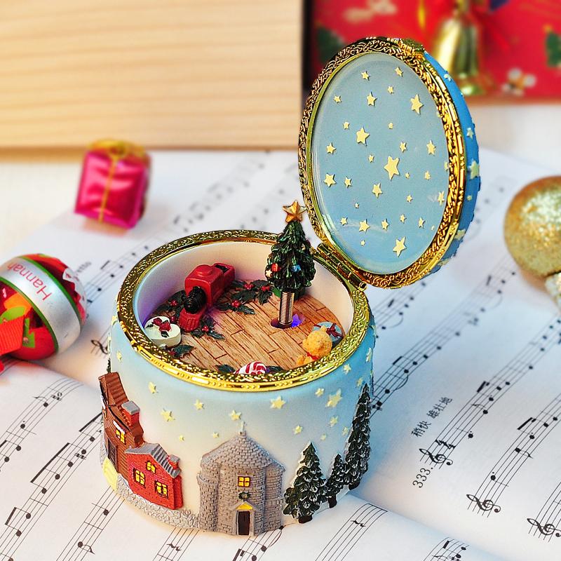 旋转发光圣诞麋鹿音乐盒八音盒创意礼品生日礼物品送男女生