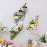 European-style wall flower rack rack decoration frame iron hanging flower pot rack multi-layer perforated wall mural wall hanging