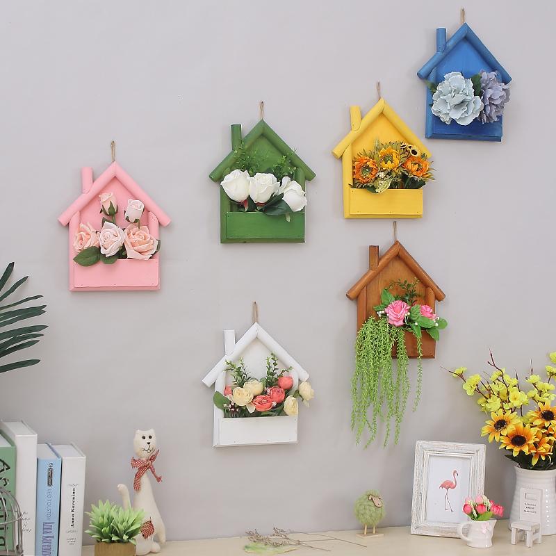 美式乡村复古彩色小房子客厅墙上装饰品壁挂置物架隔板墙壁饰墙饰