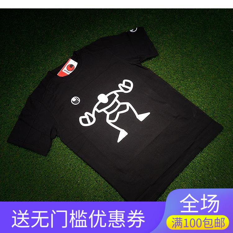 (大火足球)正品優斯寶Uhlsport黑色純棉守門員個性主題圖案T恤