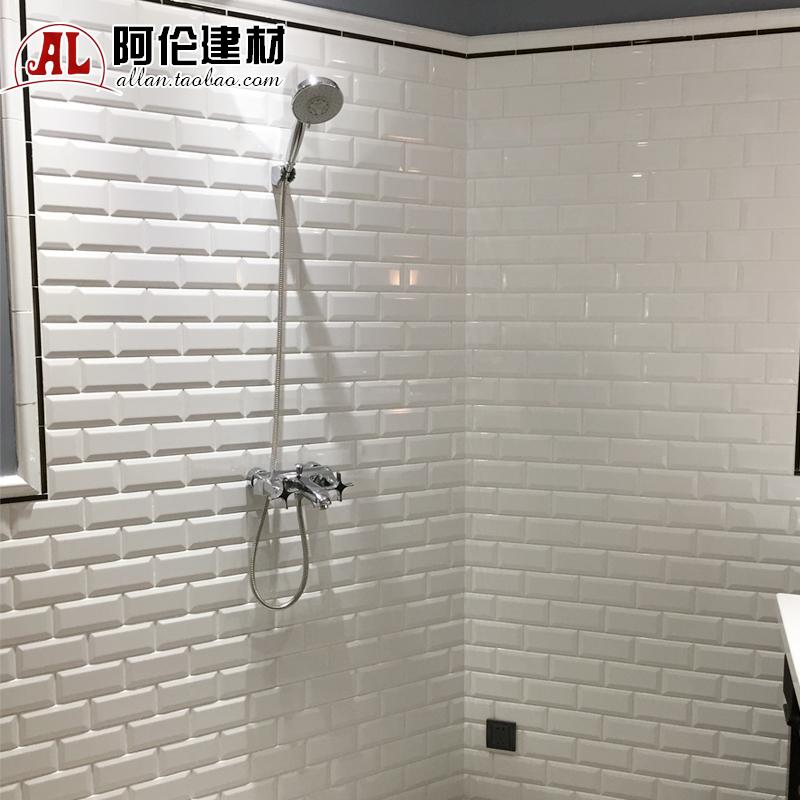 北欧卫生间瓷砖简约现代阳台釉面厨房墙砖北欧小白砖网红瓷砖