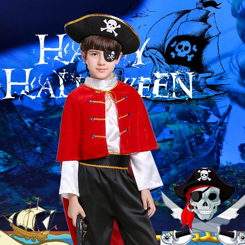 万圣节儿童服装男童cos加勒比海盗船长cosplay装扮角色扮演的衣服