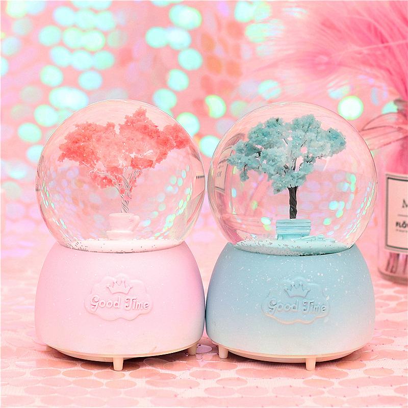 夢幻浪漫櫻花飄雪水晶球音樂盒八音盒兒童女孩女生日情侶教師禮物