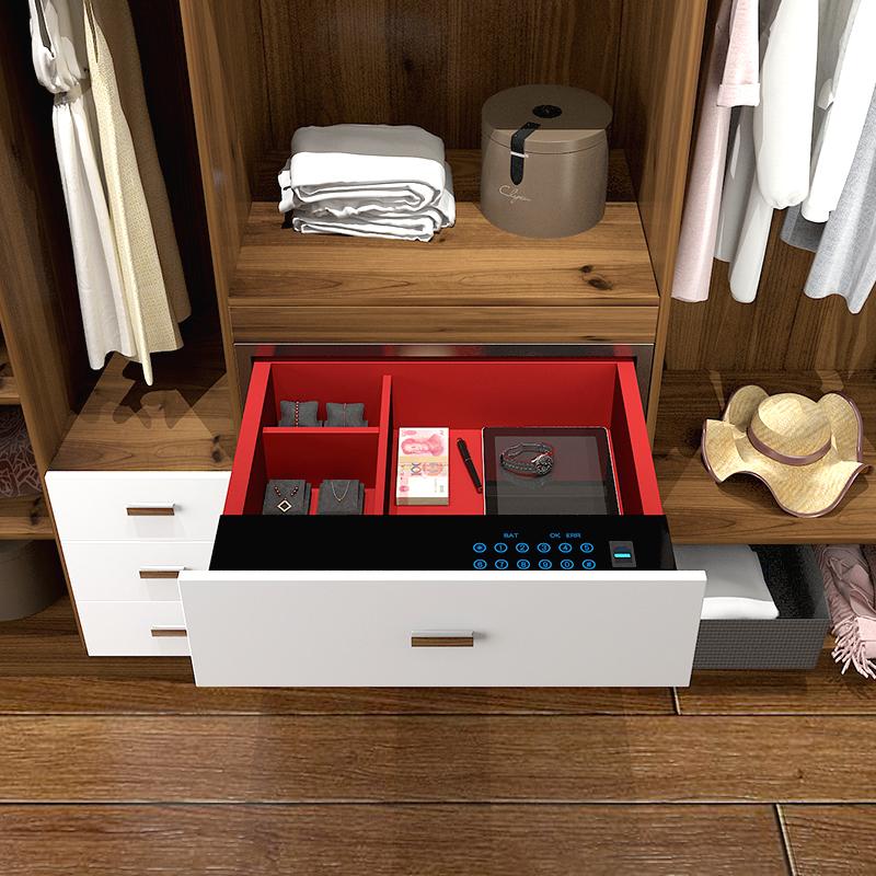 家用保险柜箱入衣柜入墙小型触屏防盗智能指纹密码抽屉衣柜保险箱