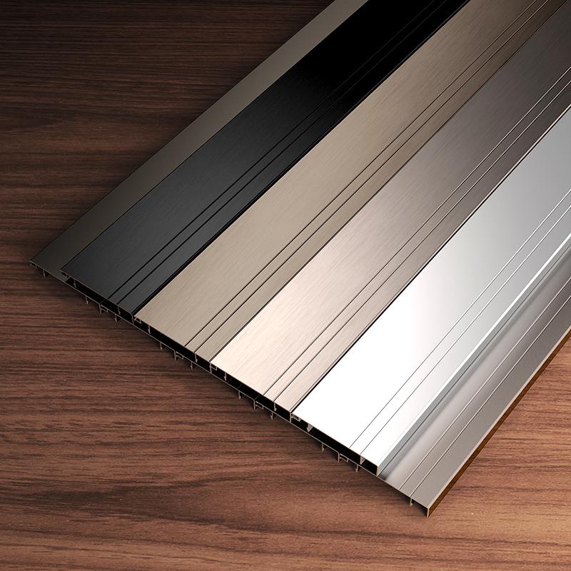 铝合金踢脚线墙贴装饰客厅瓷砖北欧美式黑白色踢脚线金属10cm8cm
