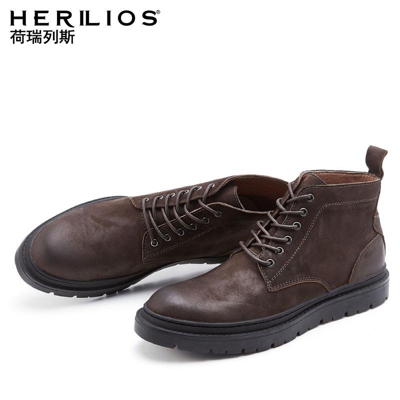 秋季男鞋真皮马丁靴靴子男中帮工装韩版厚底短靴高帮军靴潮棉鞋子