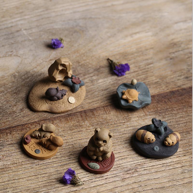 包邮宜兴精品紫砂茶宠小雕塑手工紫砂壶茶玩茶具餐具迷你青蛙母鸡
