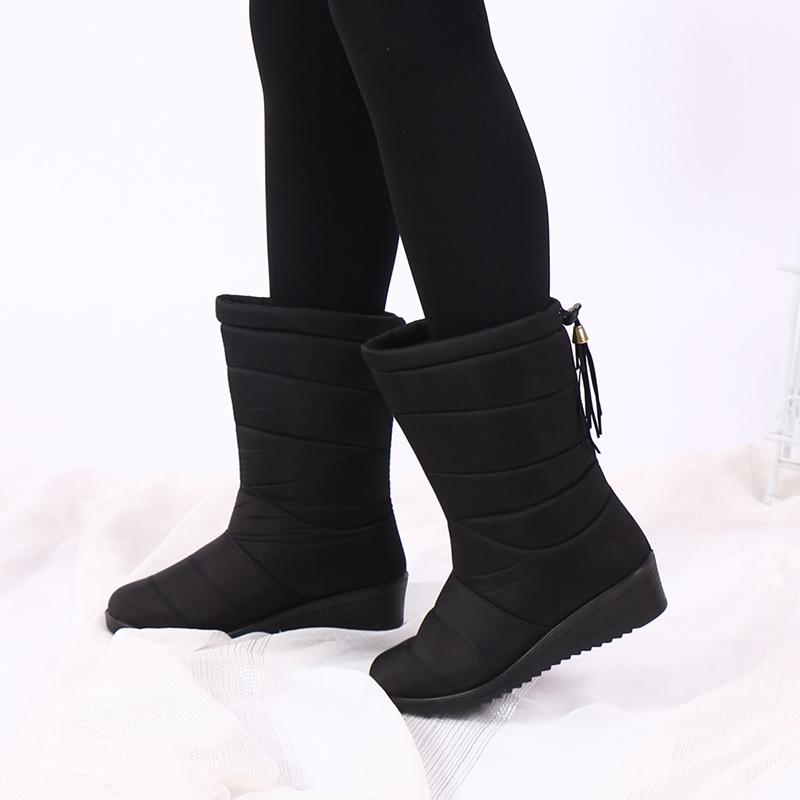 2019冬季雪地靴女中筒厚底鞋防水防滑加绒保暖孕妇鞋女冬加厚棉鞋