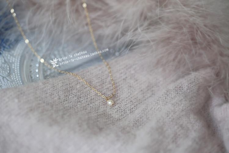 同款颈链锁骨链项链 agete 包金 14k 美国 迷你极光淡水珍珠 露白