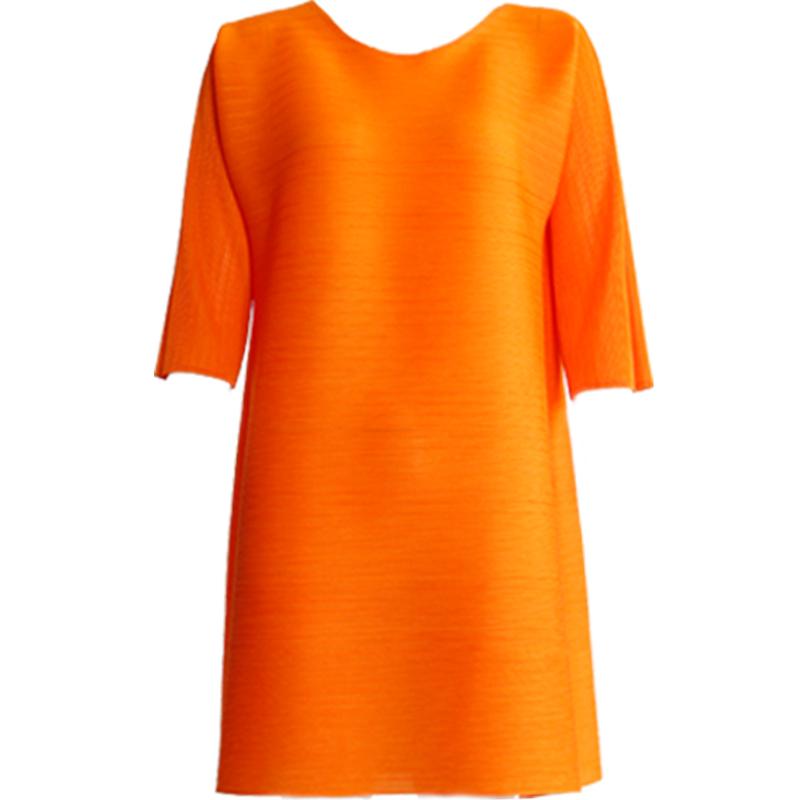 連衣裙春裝2019新三宅褶皺中長款大碼遮肚減齡網紅主播連衣裙氣質