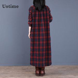 Uotime2020韩版新款时尚格子连衣裙中长款套头宽松女长裙不规则春