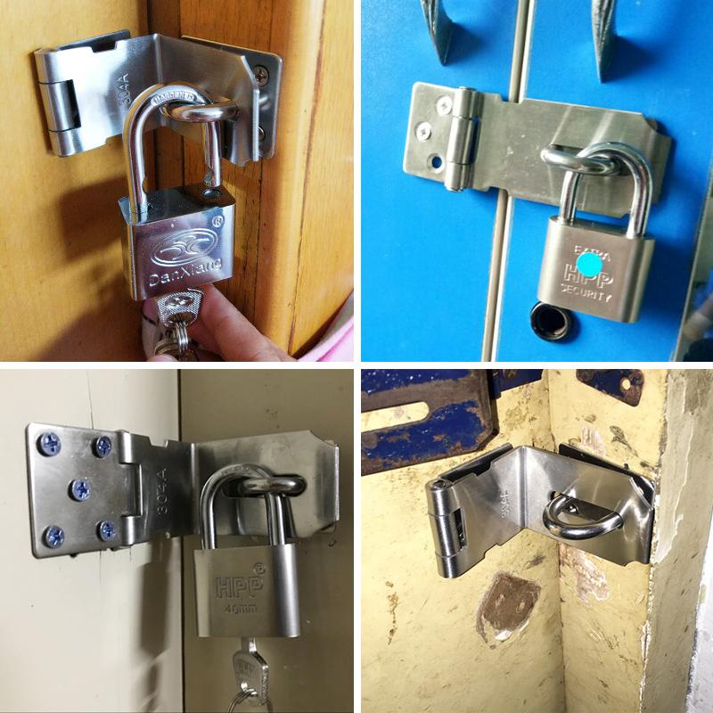 门锁扣搭扣老式门推拉门锁锁扣大门不锈钢卡扣90度门锁扣插销门栓