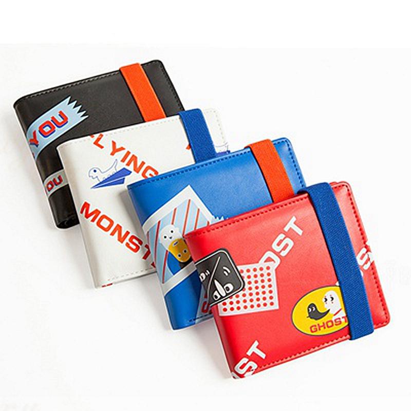 弹力绳两折叠皮夹创意潮日韩国零钱位薄学生男女短款钱包 yizi 包邮