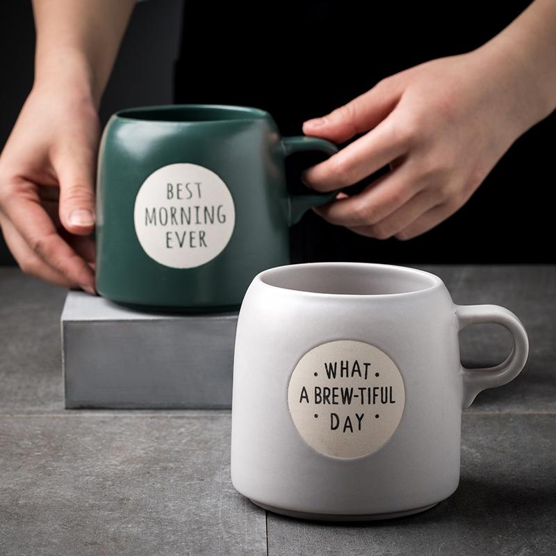 创意陶瓷杯情侣款马克杯,绿色很漂亮有格调