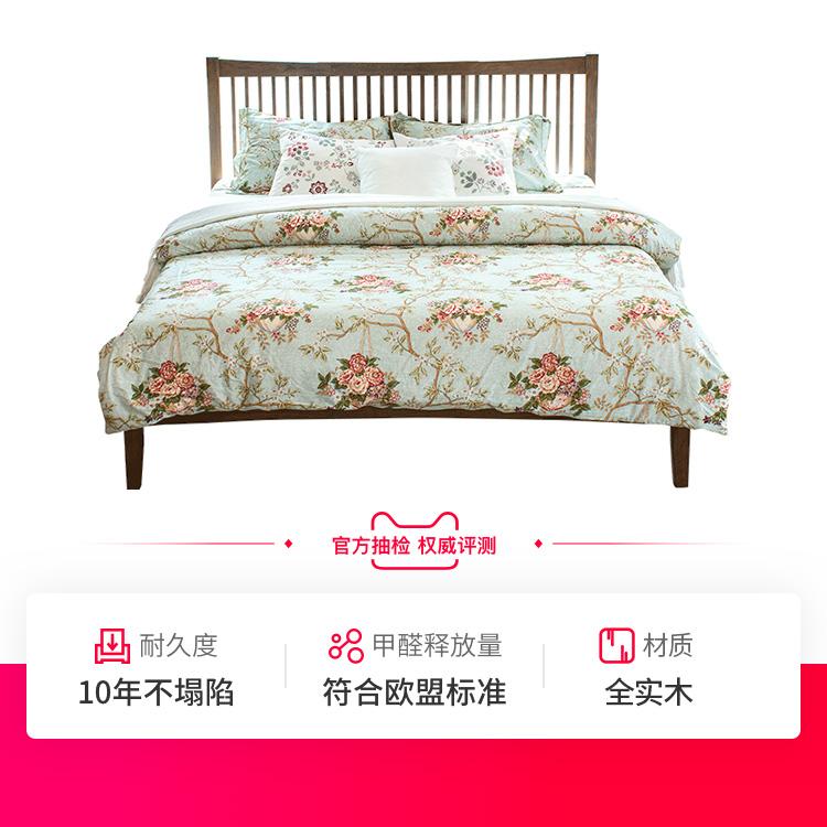 治木工坊 橡木床1.5米床 1.8米双人床简约现代全实木床环保美式床