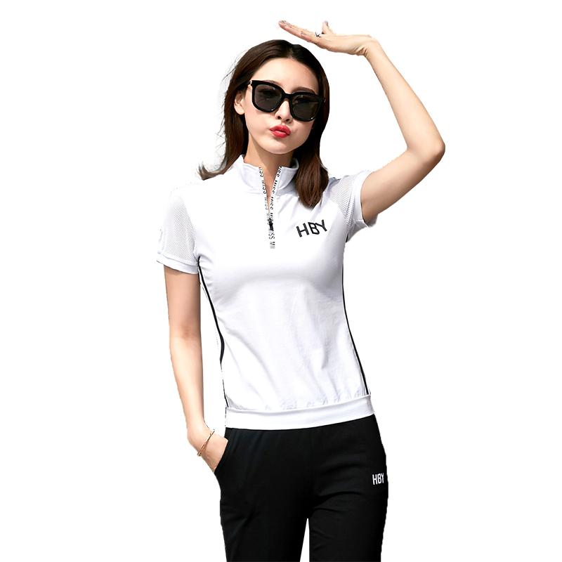 2020新款夏季运动休闲上衣韩版修身百搭半袖翻领T恤女短袖POLO衫