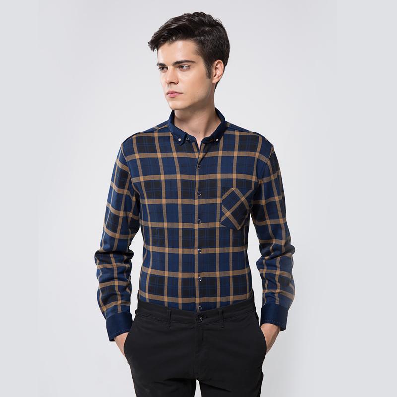 俞兆林2020冬季经典格子保暖衬衫加绒加厚衬衣中年男士爸爸装长袖