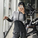 Fitness female autumn and winter sports jacket zipper jacket quick-drying stand collar long-sleeved T-shirt Slim jogging yoga clothes BF wind