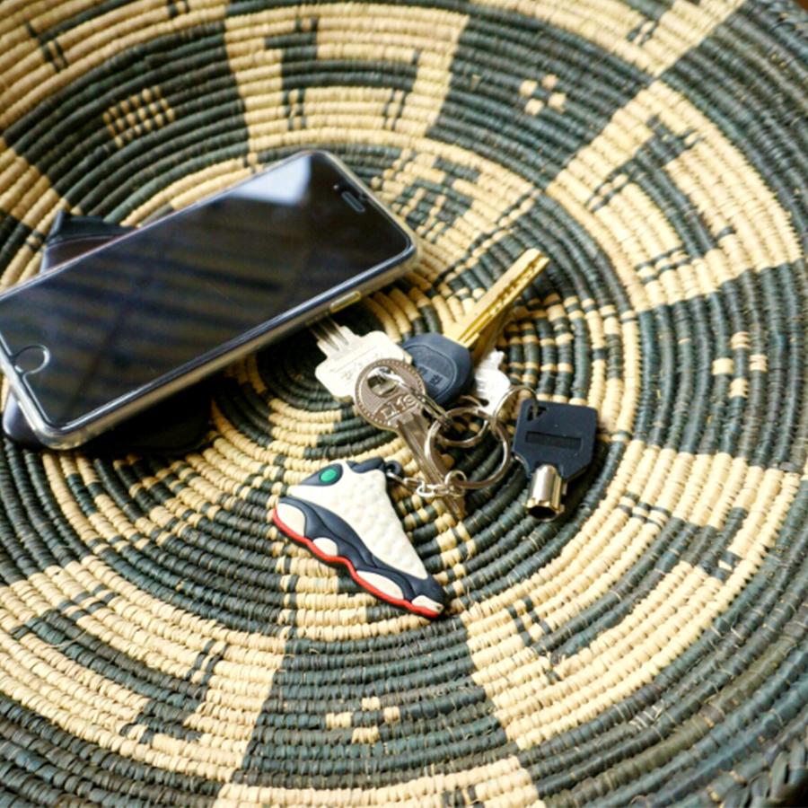 巴基斯坦手工竹编纯天然植物染色竹盘 现货装饰玄关零钱钥匙盘子