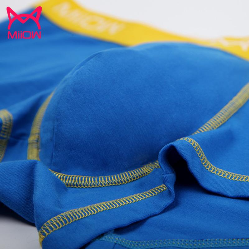 MiiOW/猫人男士青年四角内裤平角舒适纯棉面料运动性感三条装礼盒