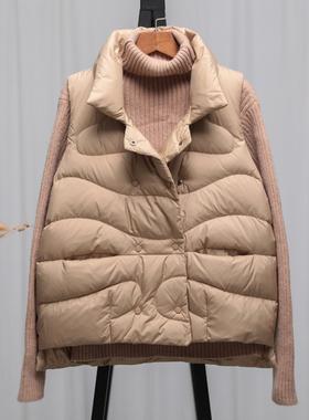 羽绒马甲女短款2020秋冬新款韩版宽松轻薄羽绒服背心坎肩马夹外套