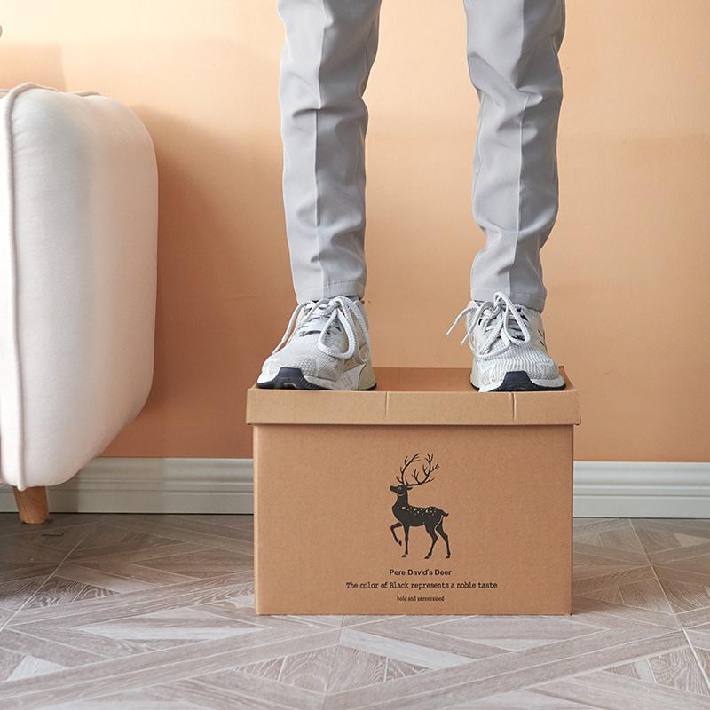 牛皮纸收纳盒纸质有盖超硬装书收纳箱零食离职整理盒储物箱文件箱