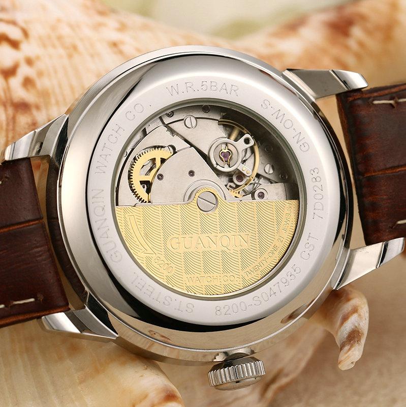 正品冠琴手表全自动机械表瑞士商务经典男表真皮带超薄防水男士表