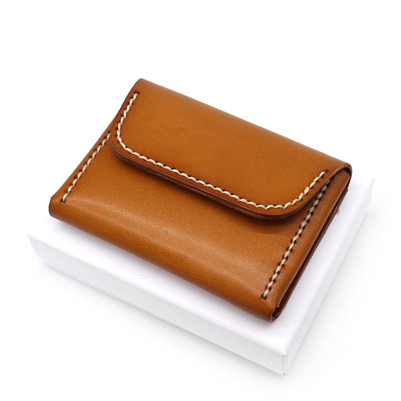 日韩原创植鞣牛皮小卡包真皮手工缝线名片包女复古驾驶证零钱包男