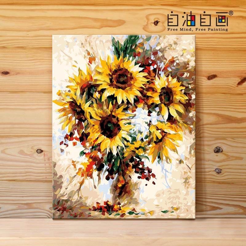 自油自畫 數字油畫diy 客廳臥室大幅風景花卉手繪裝飾畫 落英繽紛