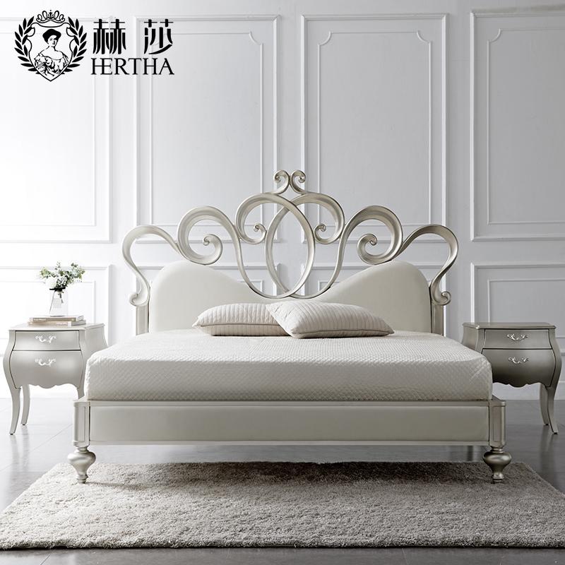 赫莎法式傢俱後現代簡約歐式實木公主床輕奢雙人宜家主臥1.5米HJ