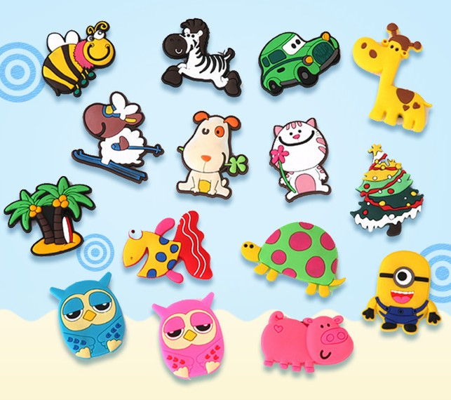 卡通磁贴个姓创意装饰一套装磁姓贴 pvc 吸铁石 3d 动物冰箱贴留言板