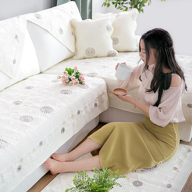 四季通用双面新疆全棉沙发垫套罩巾纯棉布艺防滑盖布真皮木坐垫子