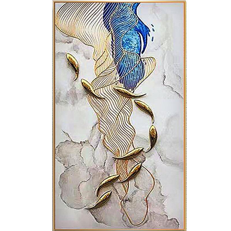 手繪油畫金線裝飾畫現代客廳玄關餐廳背景畫立體抽象九魚圖實物畫