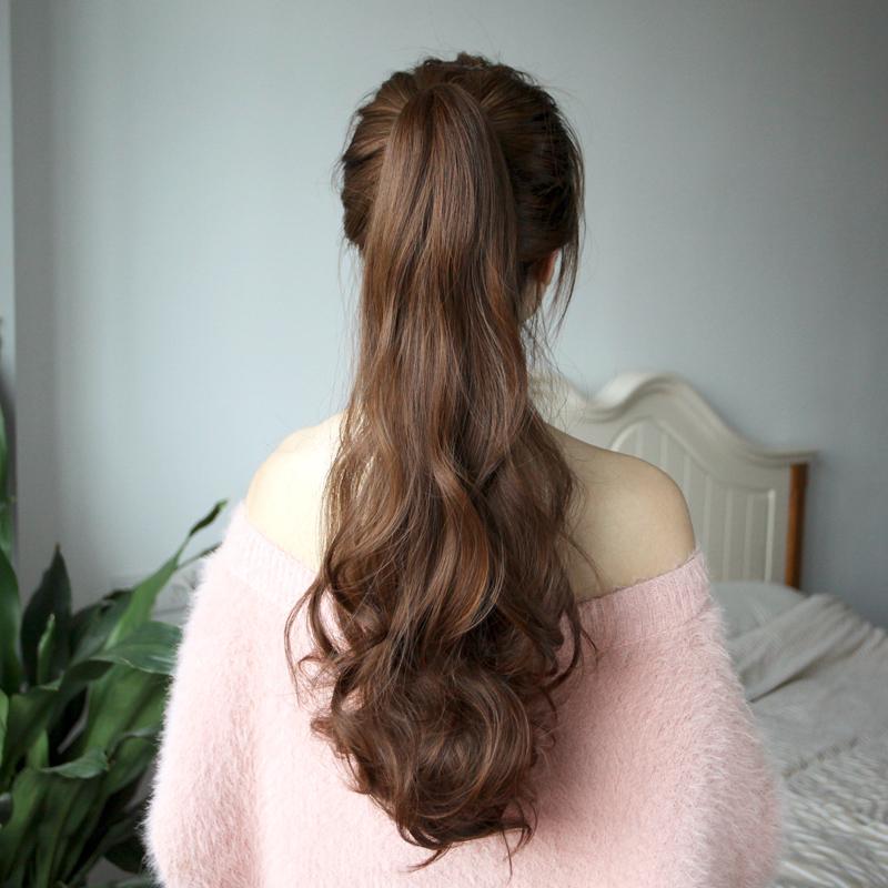 假发女抓夹式长卷发马尾 扎高马尾麻花辫子 气质大波浪卷发假马尾